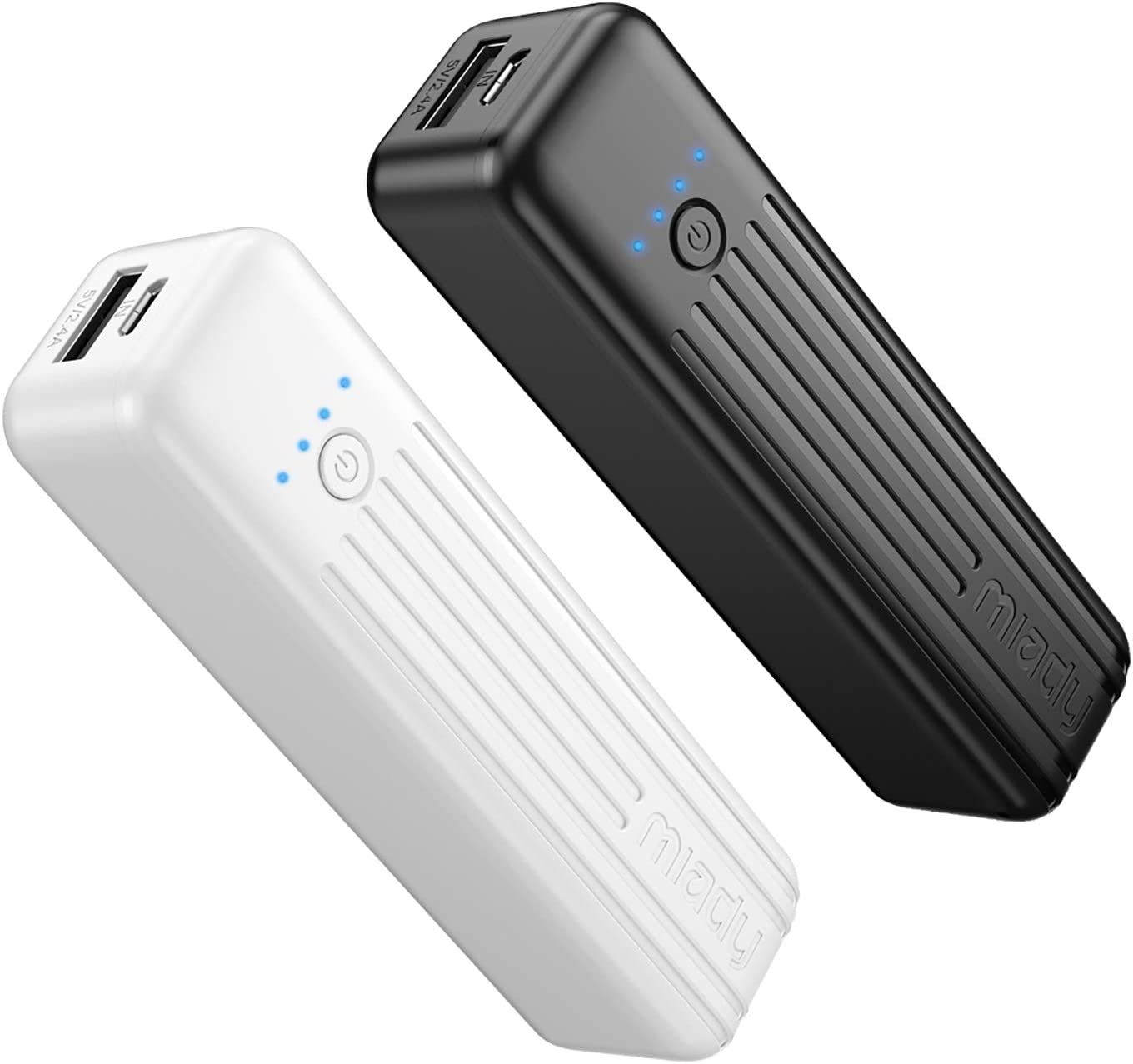 Miady 2-Pack Portable Charger 5000mAh, 3.45oz Lightweight Power Bank, 5V/2.4A Output & 5V/2A Input Battery Pack Charger, Mini Portable Phone Charger for iPhone, Samsung Galaxy and etc