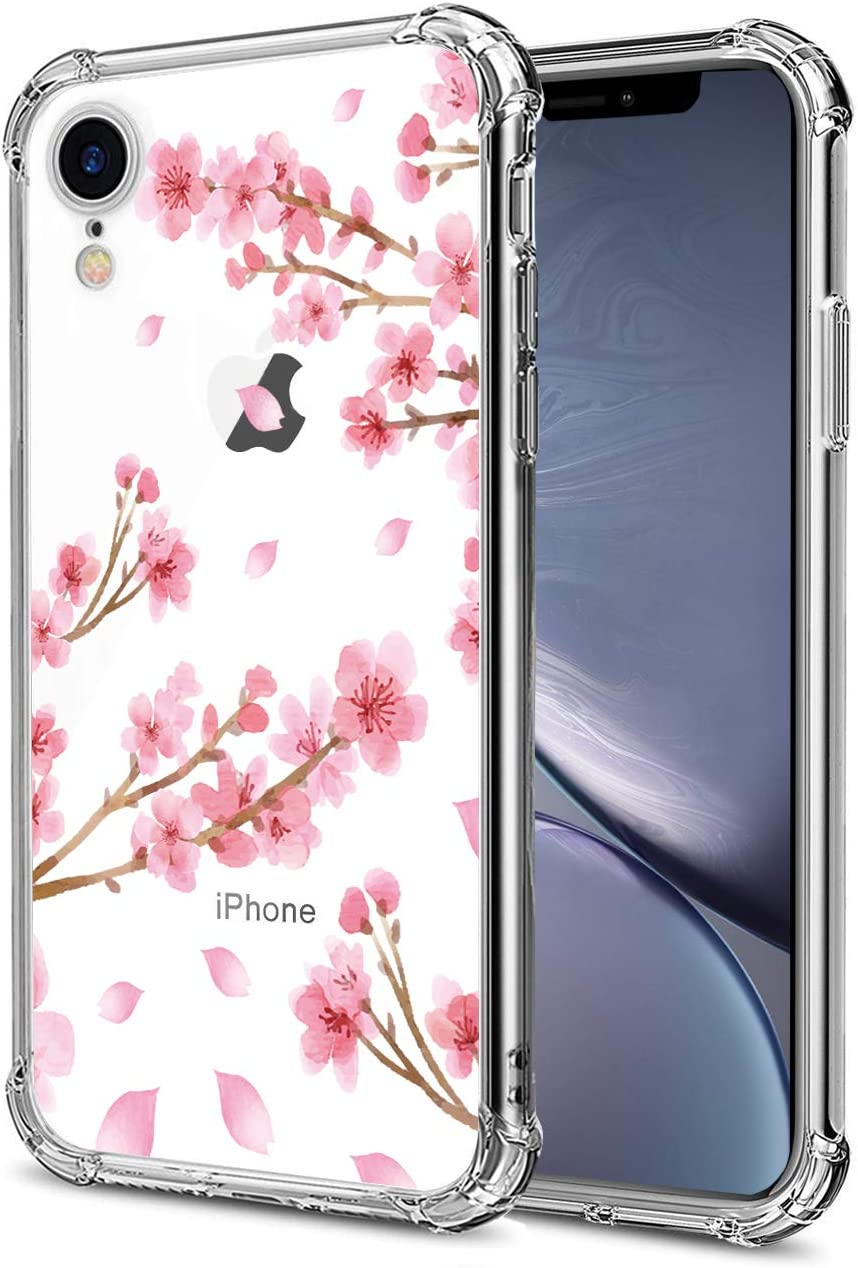 HEYORUN Case Compatible for iPhone Xr, Cherry Blossom Girls and Women Floral Back Case Cover, Sakura Clear Phone Case,Transparent Flexible TPU Bumper Shockproof Protective Case