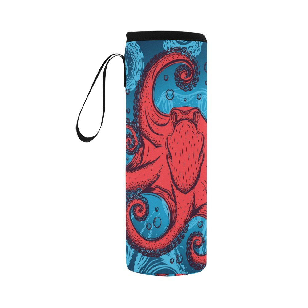 InterestPrint Red Kraken Octopus Neoprene Water Bottle Sleeve Insulated Holder Bag 16.90oz-21.12oz, Ocean Nautical Sport Outdoor Protable Cooler Carrier Case Pouch Cover with Handle