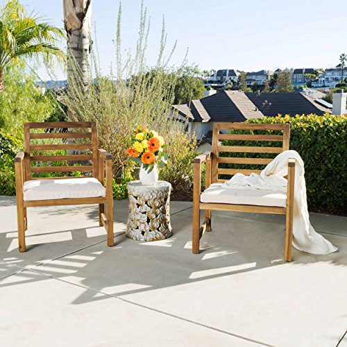 Eveleigh Coastal Outdoor Natural Stained Acacia Wood Club Chair (Set of ()