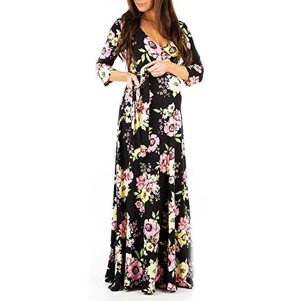IWEMEK Womens Maternity Dress Pregnant Women Photography Floral//Solid Nursing Dresses with Adjustable Belt 3//4 Sleeves Faux Wrap Maxi Gown for Evening Party Photo Shoot Wedding Casual Holiday