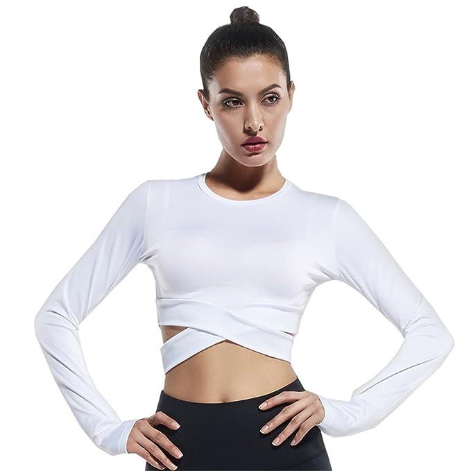 0f1416d5aa Fanceey Women Yoga Shirt Sports Beauty Crop Top Fitness Exercise Gym Long  Sleeve