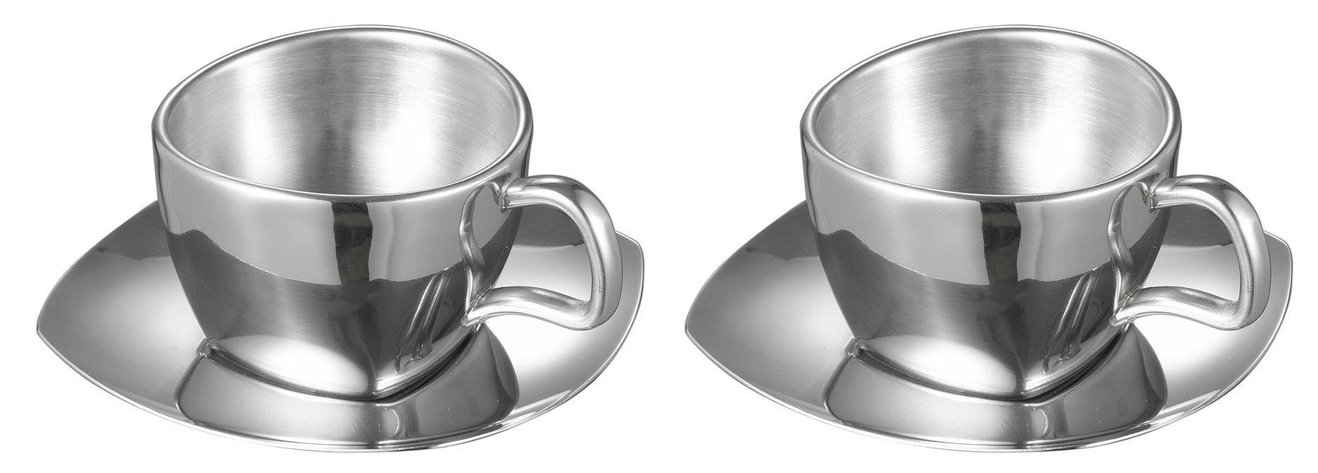 Visol Misto Stainless Steel Double Wall Cup with Saucer (2 Pack), Silver