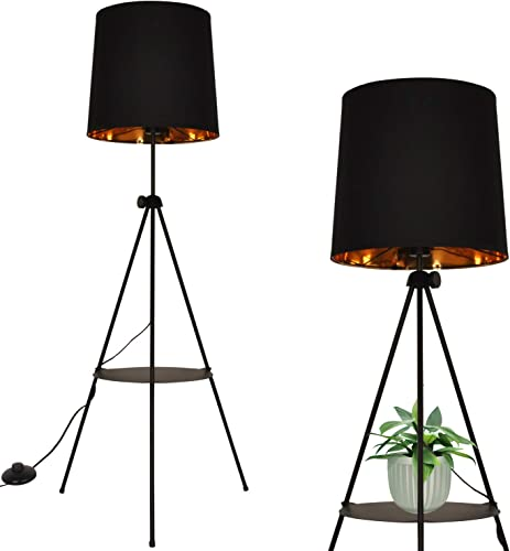 Modern Industrial Black Gold Tripod Floor Lamp