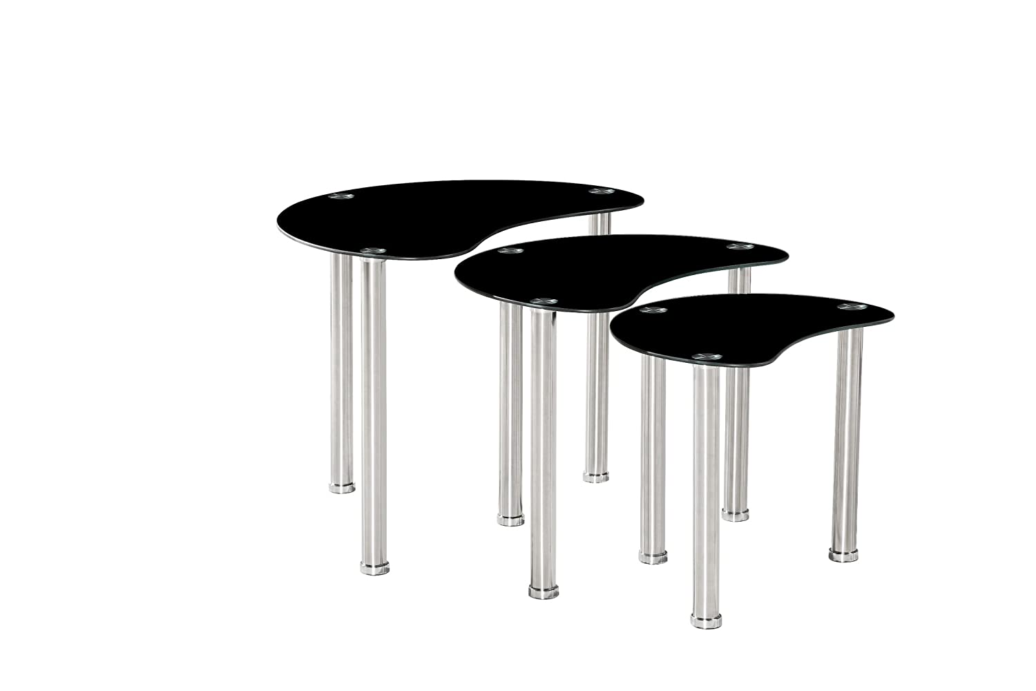 AHOC Nest 3 Tables Set Black Clear Tempered Glass Side End Square Coffee Lamp Bent (Black Ovals Tables)