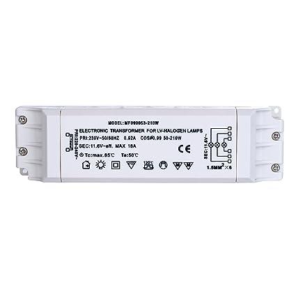 Liqoo 50-210W Transformador de Halógeno AC 12V Transformador Electrónico 220V a 12V para Lámparas