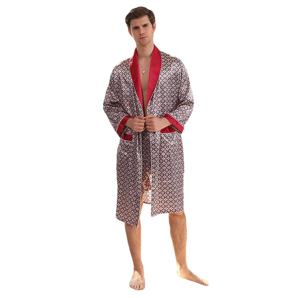 WEEN CHARM Men's Kimono Satin Luxury Robe with Pajama Shorts Loungewear Sleepwear Long Silk Bathrobe Boxer Short Set US-WC-SY-880001