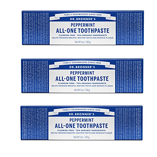 Dr. Bronner Peppermint Toothpaste 5-Ounces (3 Pack) (Toothpaste Mint Coconut)