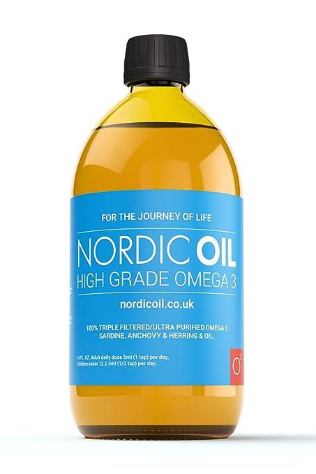 Aceite de pescado Nordic Oil, con Omega 3, alta resistencia, sabor limón,