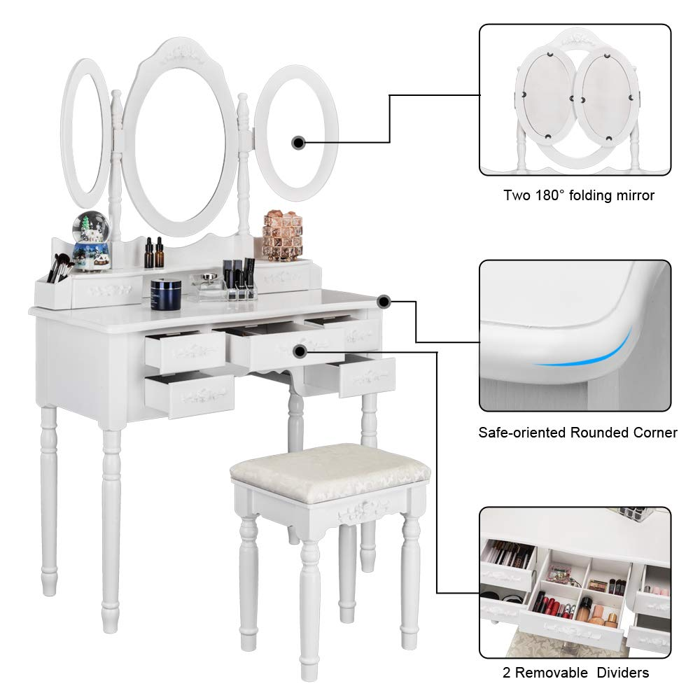 Bonnlo 7 Drawers Vanity Table Set for Girls Tri-Folding Mirrors Makeup Vanity Table with Cushioned Stool/&2 Drawer Dividers/&2 Makeup Brush Holders,Black