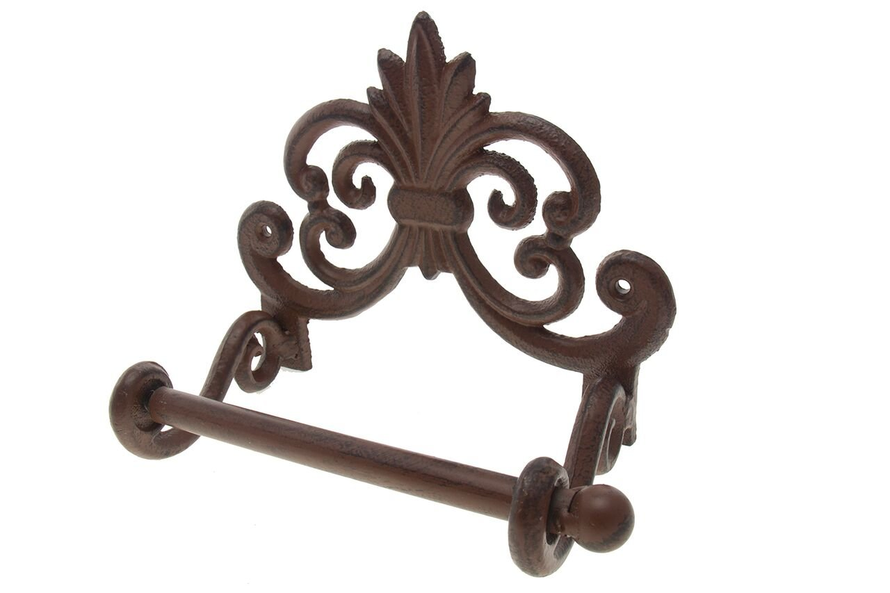 Comfify Fleur De Lis Cast Iron Toilet Paper Roll holder - Cast Iron Wall Mounted Toilet Tissue Holder - European Victorian Design - 7.9x4.3x6.3 Screws Anchors (Rust Brown)