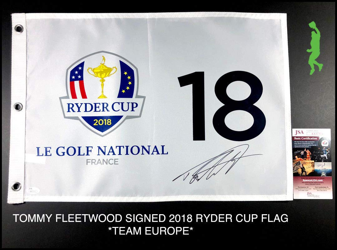 Tommy Fleetwood Autographed Signed 2018 Ryder Cup Pin Flag Team Europe Pga JSA Authentic