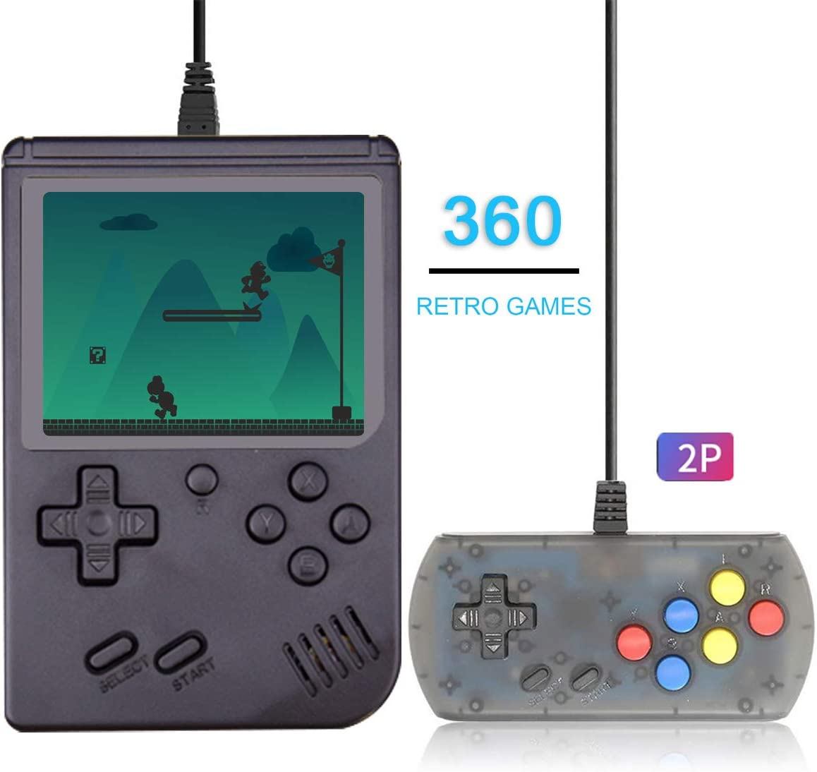 Good Gift for Teenagers and Adults Efunlife Handheld Game Console 360 Classic Games 3 Inch LCD Screen with 2 Player Controller Portable Retro Game Console Support AV Out TV