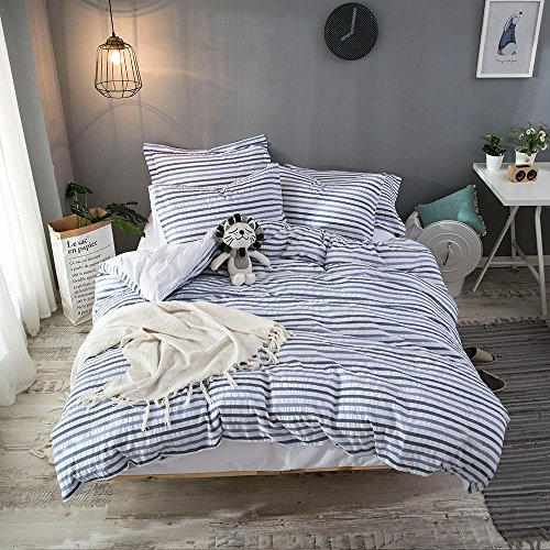 Merryfeel Cotton Seersucker Duver Cover Set,100% Cotton Woven Seersucker Stripe Bedding Set,3 Pieces (Comforter Cover with 2 Pillowshams) - Full/Queen