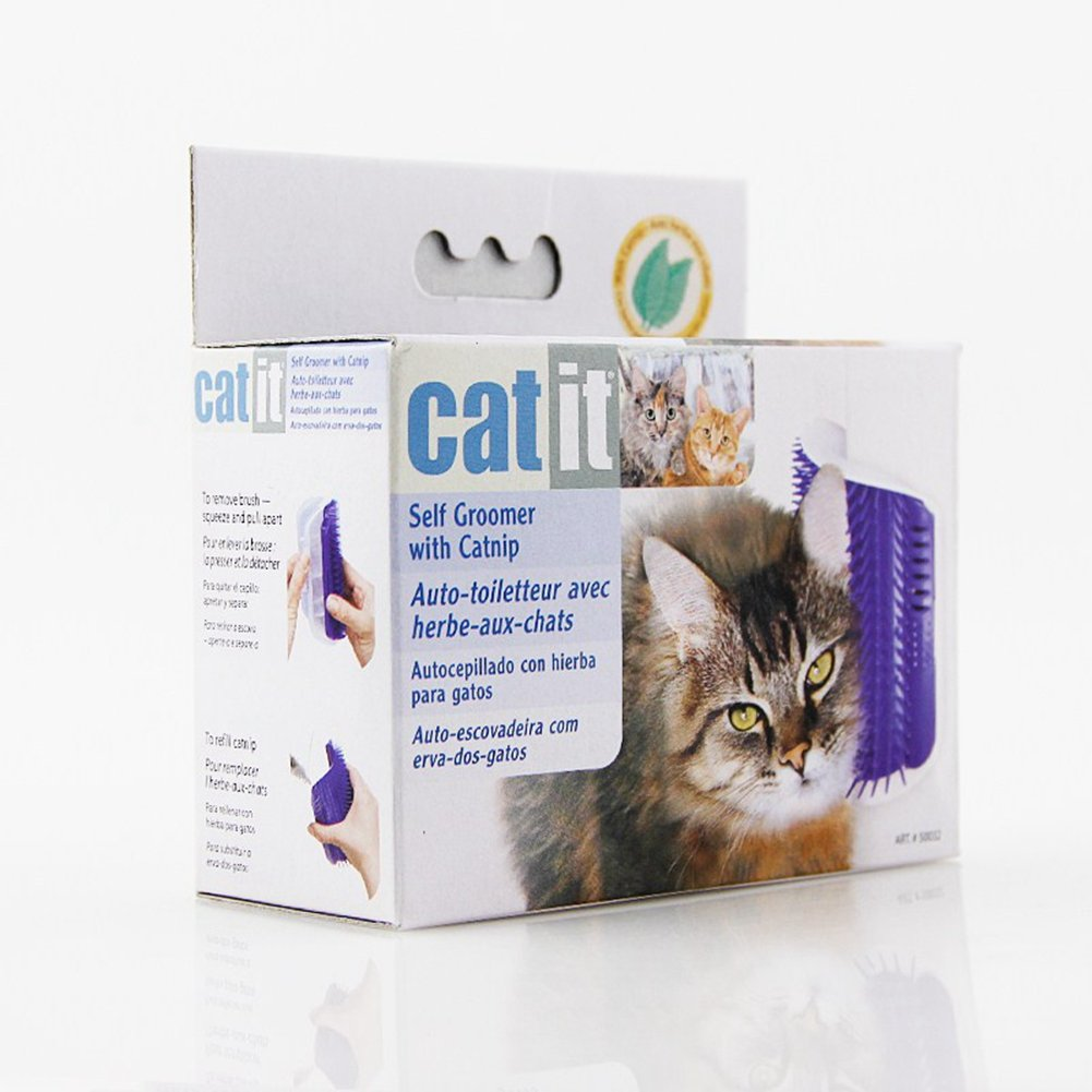 Amazon.com : BERTERI Pet Hair Massage Brush Cat Scratches Face Comb Self Groomer with Catnip Black (Pack of 1) : Pet Supplies