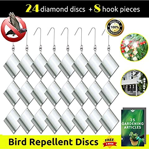 TERAVEX Bird Repellent Discs - Most Effectively Rod Scare Birds Away Like Woodpeckers Pigeons Grackles & More - Reflective Devices Make Attractive Hanging Reflectors For Windows, Trees -Set 24 Diamond