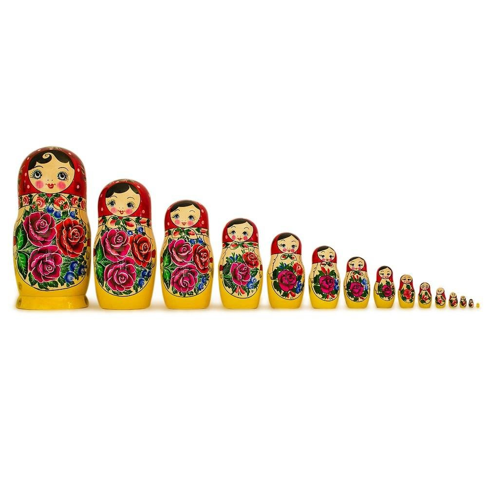 12'' Set of 15 Semyonov Extra Large Traditional Wooden Russian Nesting Dolls Matryoshka