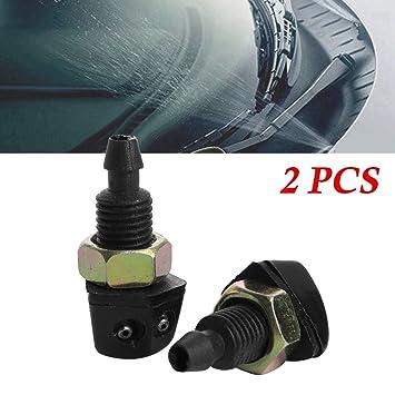 2 boquillas de pulverizador para ventana de coche, de plástico negro, universal, para el parabrisas delantero del coche, boquilla de pulverización: ...