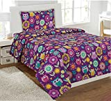 Fancy Collection 3 Pc Kids/teens Purple Owl Flowers Design Luxury sheet set Twin Size