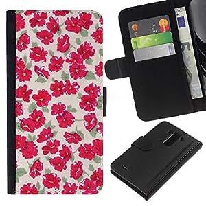 KLONGSHOP // Tirón de la caja Cartera de cuero con ranuras para tarjetas - Modelo verde amarillento Flores florales - LG G3 //