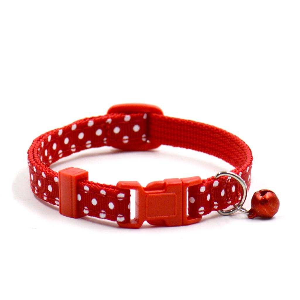 GBSELL Pet Dog Cat Collar Dot Choker Collars Necklace with Small Bell (Red)