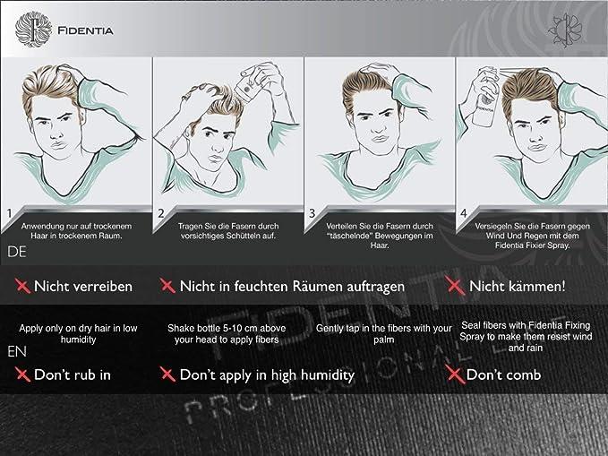 Fidentia Hair - Fibras Capilares para disimular la caída del cabello, 25g Castaño Oscuro - Dark Brown
