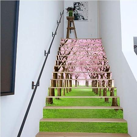 WJX 13PCS 3D Escalera Pegatina, pisadas de Escalera de casa, alfombras de Paso de Alfombra Antideslizante, alfombras Adhesivas Alfombra Escalera Alfombra de pisada (18x100cm): Amazon.es: Hogar