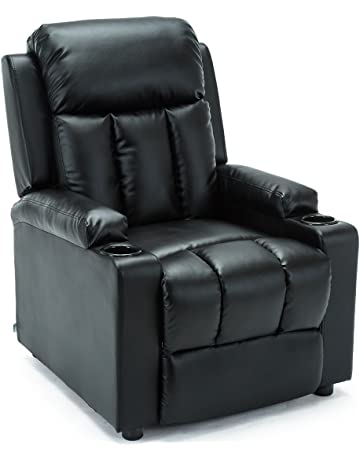 07614f655a9 More4Homes STUDIO RECLINER w DRINK HOLDERS ARMCHAIR SOFA BONDED LEATHER  CHAIR RECLINING CINEMA (Black)