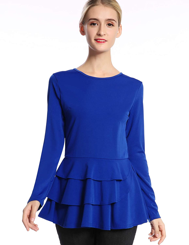 bluee Mavis Laven Women's Layered Ruffle Long Sleeve Round Neck Peplum Tops Shirt