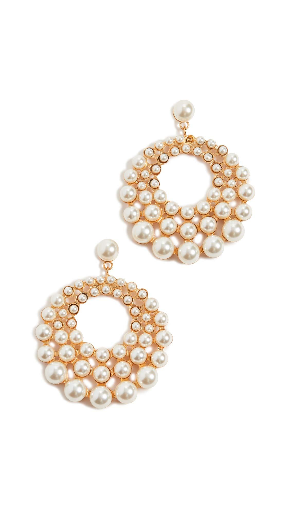 Jennifer Behr Women's Prianna Earrings, Pearl, Off White, Gold, One Size
