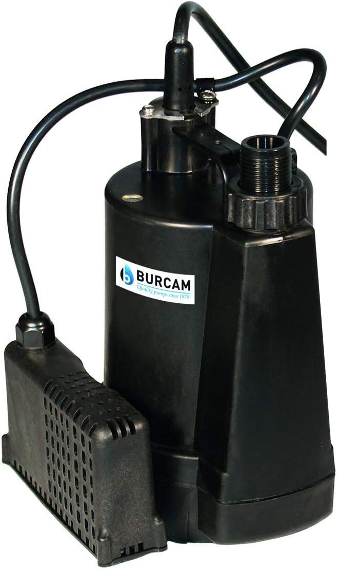 BURCAM 300507S 1/4 HP Automatic Submersible Utility Pump, Black