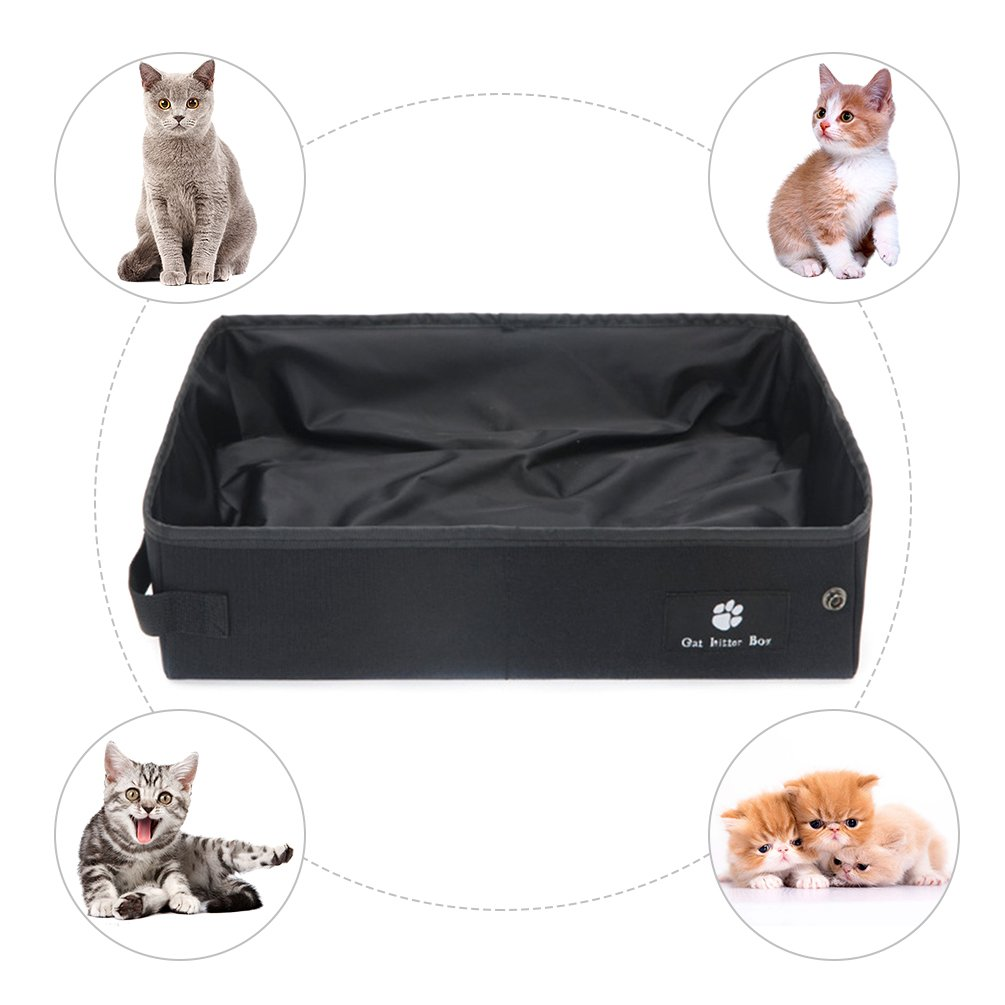 Petacc Waterproof Cat Litter Box Folding Pet Litter Pan Portable Kitten Litter Boxes, Suitable for Indoor and Outdoor Use, Black, S