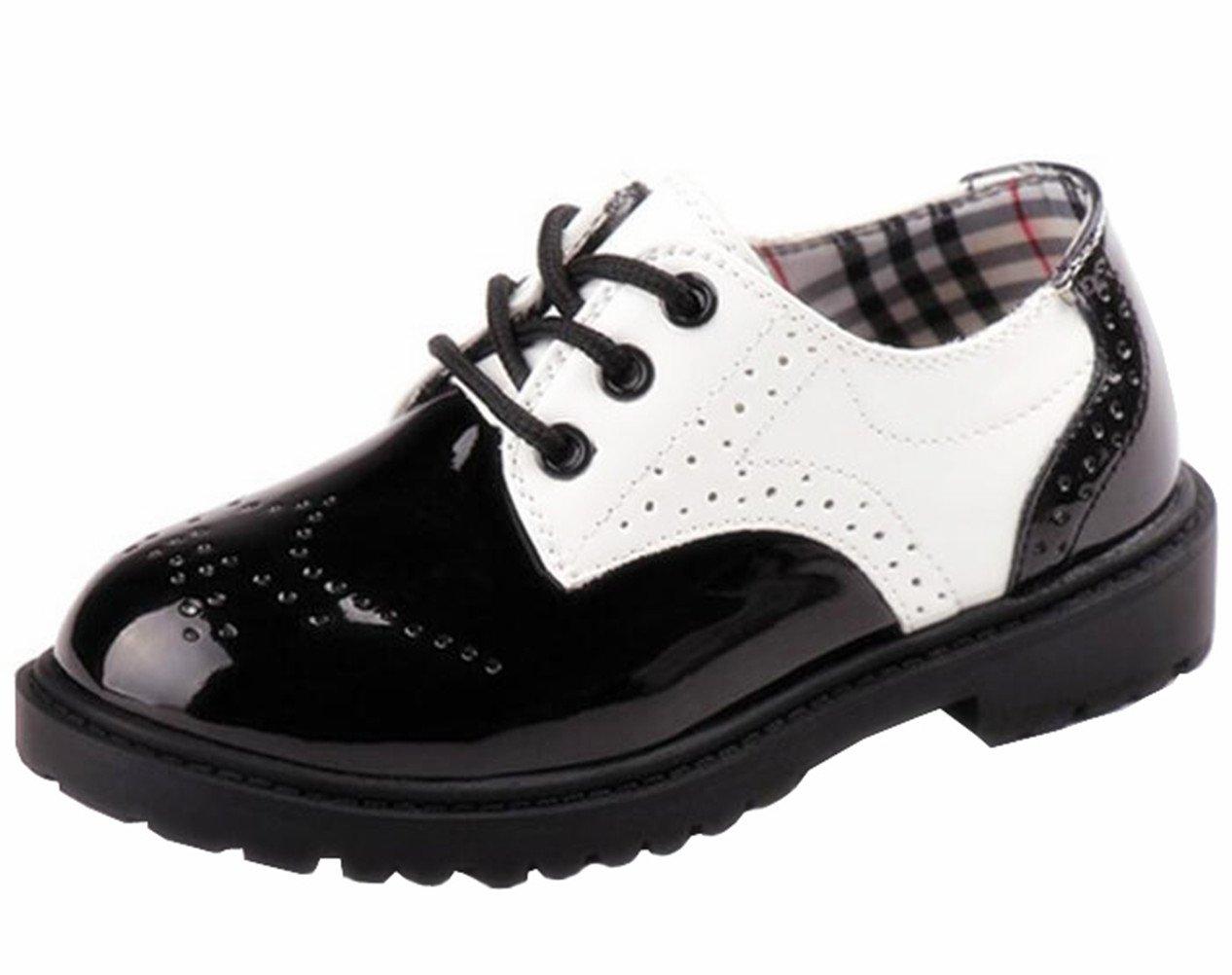 DADAWEN Children's Boy's Girl's Oxford Dress Shoe (Toddler/Little Kid/Big Kid) Black and White US Size 5.5 M Toddler