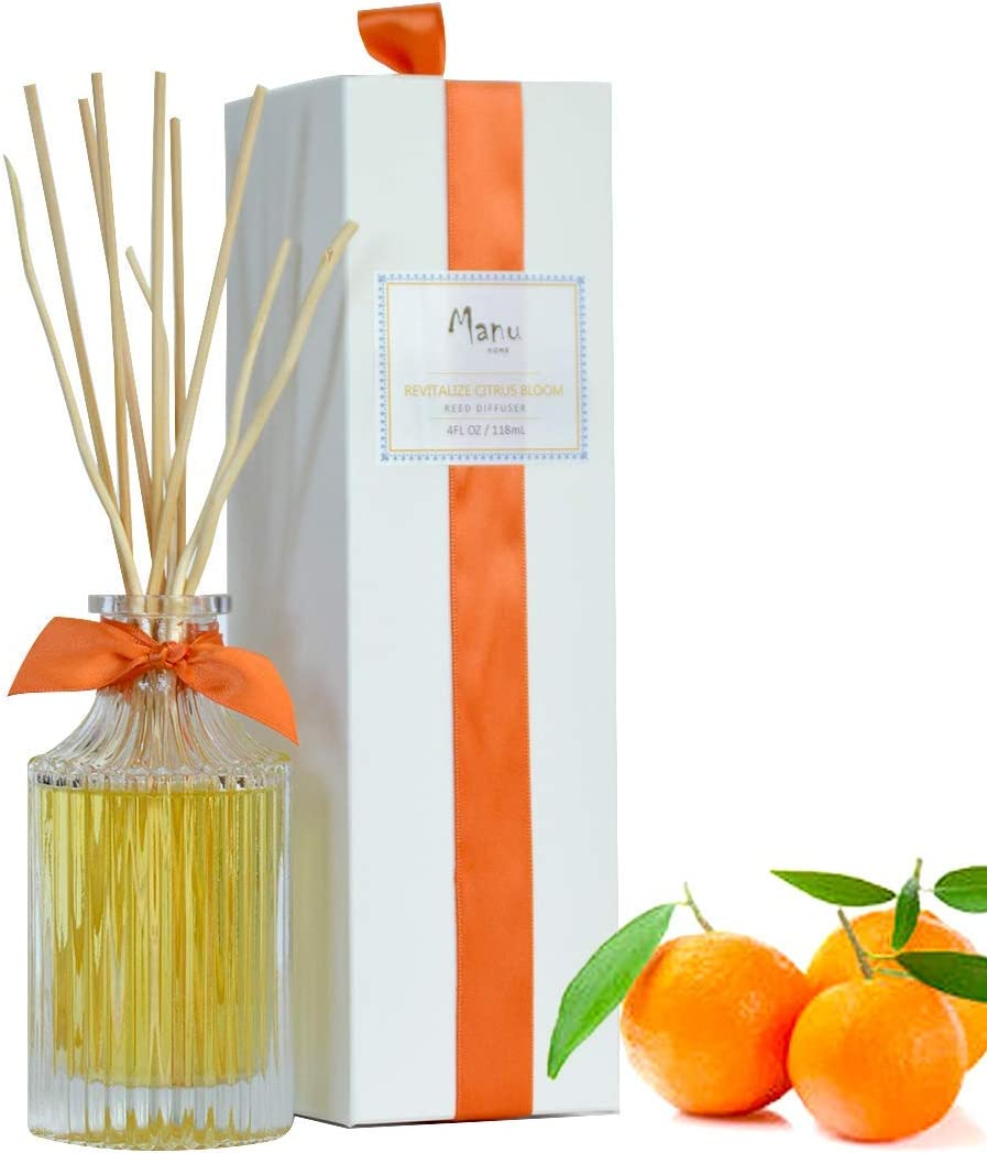 Manu Home REVITALIZE Citrus Reed Diffuser Set ~ A Refreshing Blend of Sage and Mandarin That Will Awaken Your Senses | Organic Aromathearpy Oils Used | Proudly Made in USA