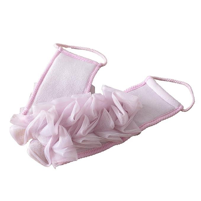 Esponja de ducha exfoliante para espalda, correa de esponja de baño con asas de cuerda para la ducha, baño de spa, apto jabón líquido, de VanraTM.