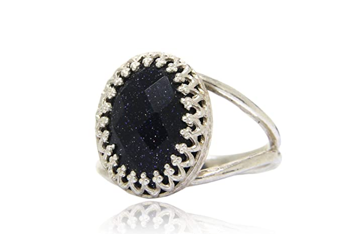 Captivating Silver Ring by Anemone Jewelry Midnight Blue Goldstone in 925 Sterling Silver Free Box Included - 925 Sterling Silver Rings for Women Great for Any Occasion All Colors Available