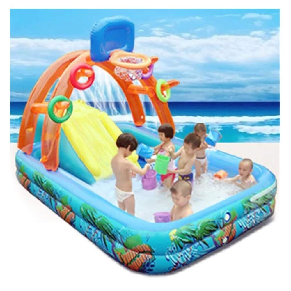 PNFP Summer Multi-Functional Inflatable Pool Slide for Kids, with Water Spray Ferrule Shooting Function, Suitable for Babies Over 3 Years Old by PNFP