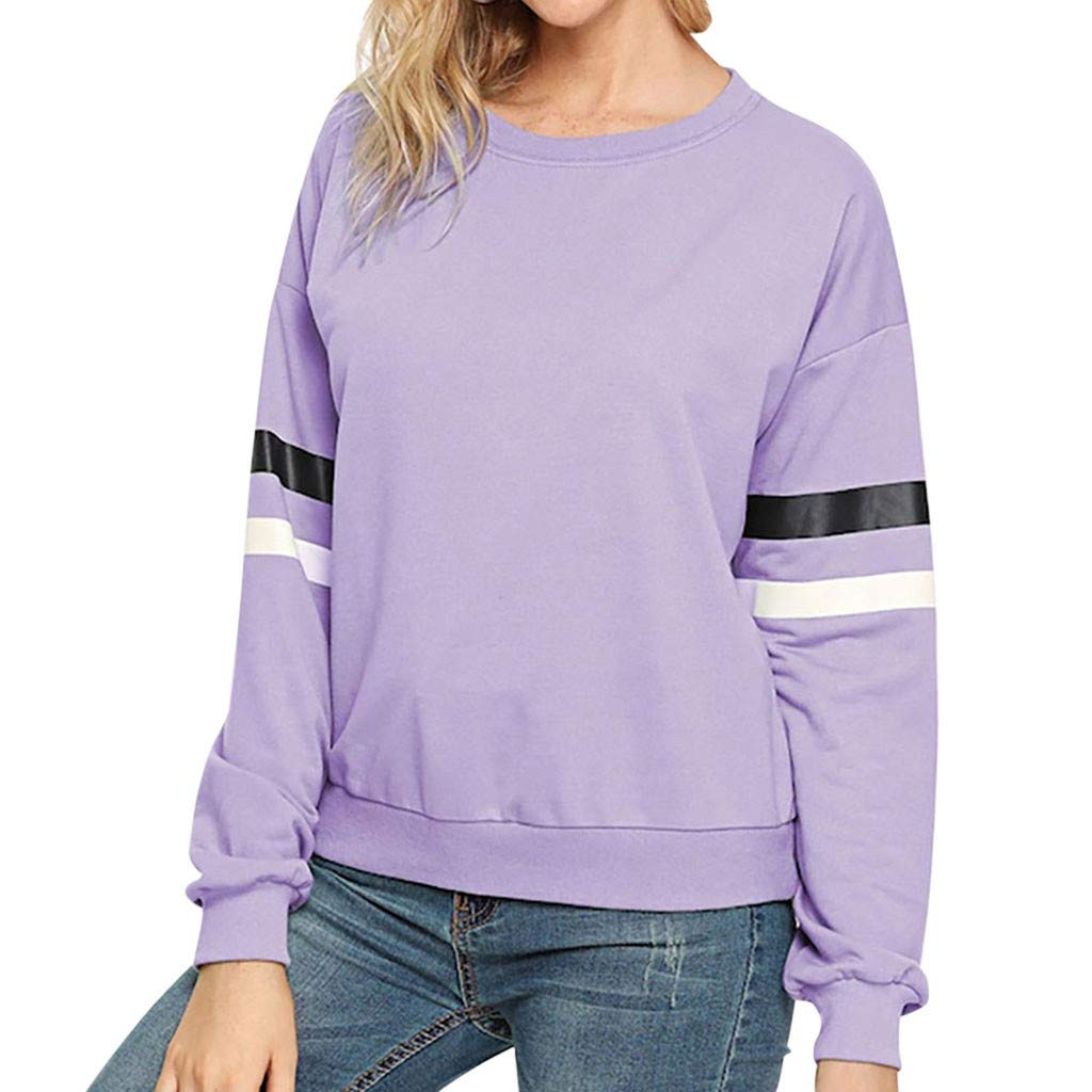 ZOMUSAR Blouse For Women, Fashion Women Fluffy Stripe Long Sleeve Blouse Patchwork Sweatershirt Tops by ZOMUSAR