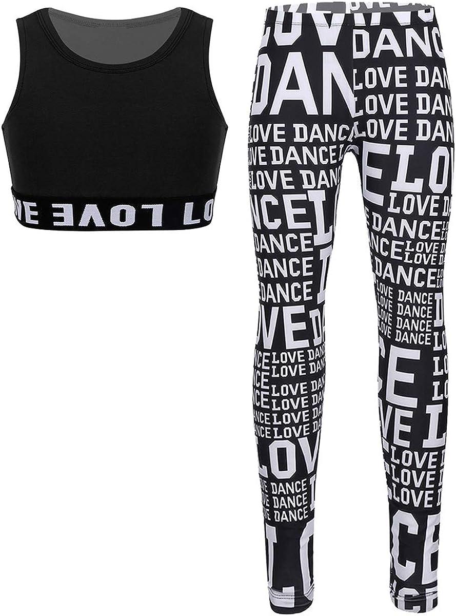 zdhoor Kids Big Girls Camouflage Tracksuit Tank Leggings Set Gymnastics Outfit Sports Bra Pants Workout 2PCS