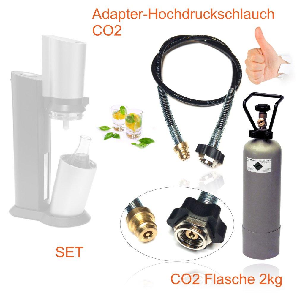 Spar-Set: CO2 Adapter-Hochdruckschlauch 1,5m + 2kg Eigentumsflasche CO2 geeignet fü r Wassersprudler SODASTREAM Crystal, Pinguin etc. Bis zu 350 Liter Sprudelwasser pro Fü llung! CO2 Schlauch umfü llen Neues Wasser Group