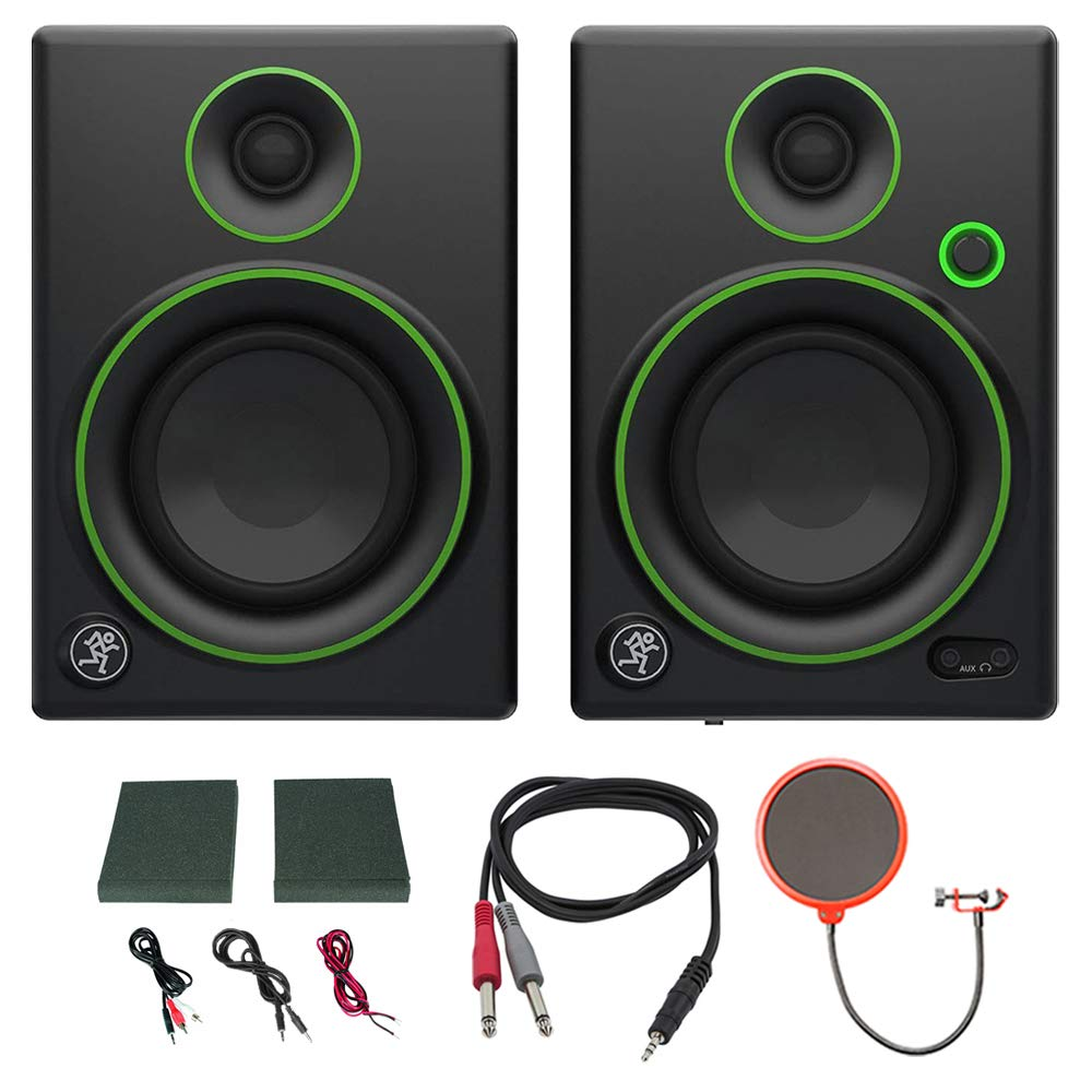 Mackie CR4 Creative Reference Multimedia Monitor (Pair) w/Pro DJ Bundle Includes, 3-feet 1/8'' TRS Male to Two 1/4'' TS Male Cable & Universal Pop Filter Microphone Wind Screen w/Mic Stand Clip
