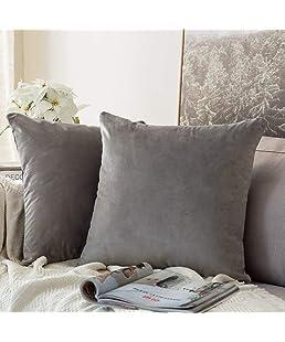 Khooti Velvet Cushion Cover, 14x14 (Light Grey)(Pack of 1)