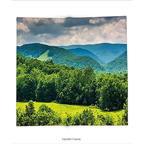 Custom printed Throw Blanket with Landscape View of Mountains in Potomac Highlands of West Virginia Rural Scenery Picture Forest Green Super soft and Cozy Fleece (Virginia Highlands Halloween)
