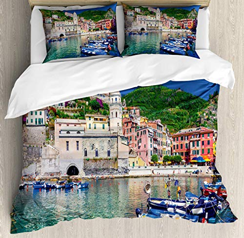 Z&L Home Vernazza Duvet Cover Bedding Sets Luxury Soft Flat Sheet Set with Pillow Shams for Kids Teen Girls Boys Men Women, Panoramic View of Italian Village with Houses and Small Fishing Boats Print ()