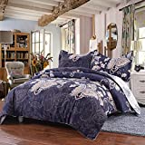 Simple&Opulence Polyester 3 Piece Navy Palace Peacock Pattern Bedding Floral Duvet Cover Set (King)