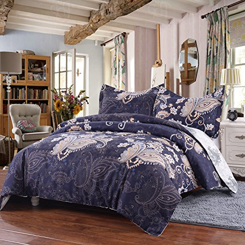 Simple&Opulence Microfiber 3 Piece Navy Palace Peacock Pattern Bedding Floral Duvet Cover Set - King Opulence Comforter