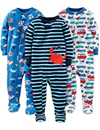 Boys' 3-Pack Snug Fit Footed Cotton Pajamas