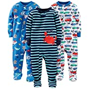 Simple Joys by Carter's Boys' 3-Pack Snug-Fit Footed Cotton Pajamas, Crab/Sea Creatures/Cars, 18 Months