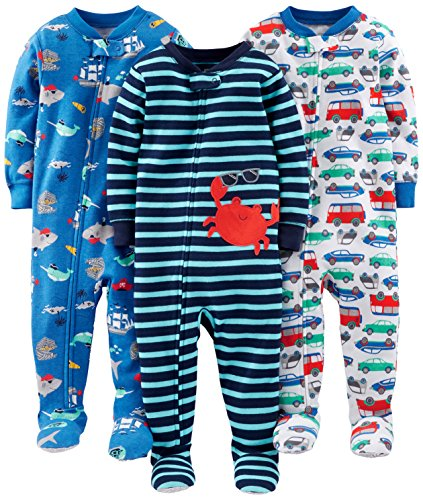 Simple Joys by Carter's Baby Boys' 3-Pack Snug-Fit Footed Cotton Pajamas, Crab/Sea Creatures/Cars, 18 Months