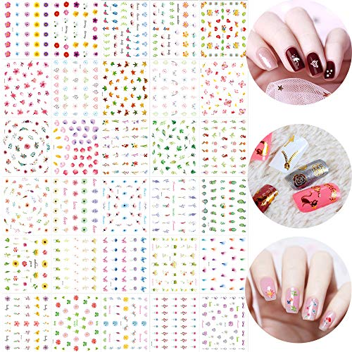 SkyCooool 90 Sheets Gold Color White Rose Flower 3D Mini Cute Heart Nail Art Design Decals False Stickers for Women, Girls DIY